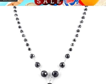 Unisex Bracelet Girlfriend,Partner Certified 4mm Black Diamond Faceted Beads Bracelet Fiancee Gift For Wife Friend,Birthday GIft