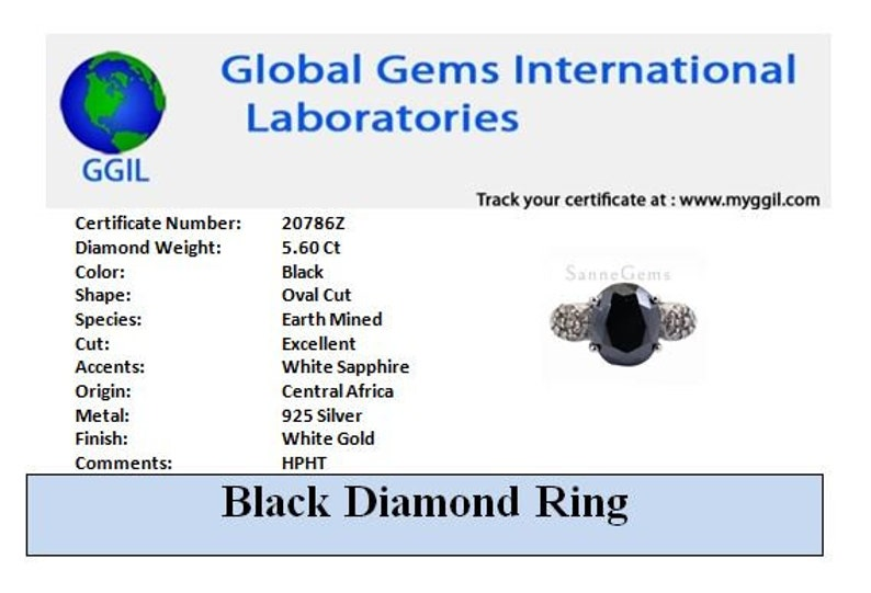5.60 Ct Black Diamond Oval Cut Ring With White Sapphire Accents Certified diamond,Amazing Sparkle /& Bling !