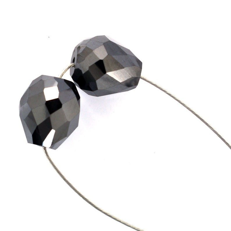 2 Pcs Certified 9x8mm Drop Faceted Black Diamond Beads Pair for Making Jewelry