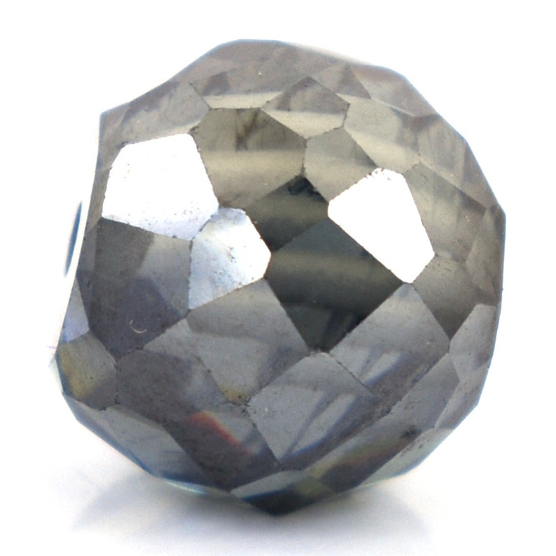 Certified 10 mm Round Grey Diamond Bead 6.75 Cts for Making Jewelry