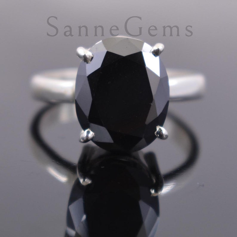 Amazing Sparkle /& Bling ! 4 Prong Ring Black Diamond Ring In Oval Cut In white Gold Finish