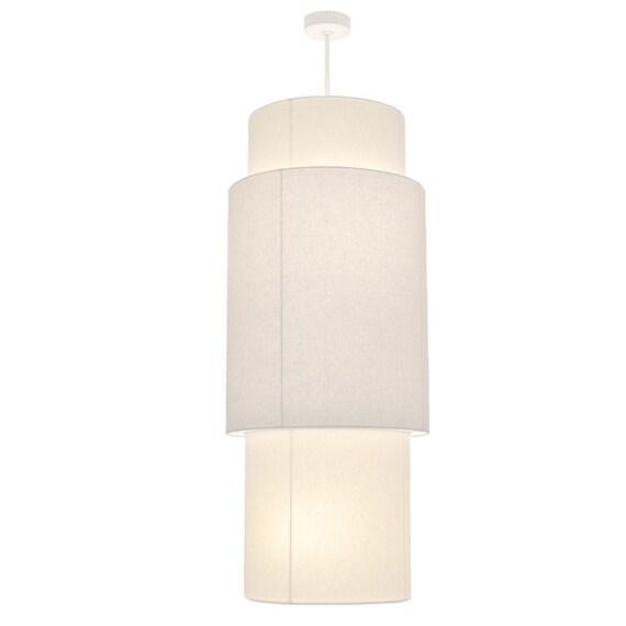 "New 4 Lamp Cylinder Drum Linen Shade Chandelier Pendant Lighting Dia 20/"""