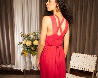 Elegant Red Evening Maxi Gown