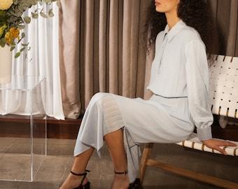 Midi Shirt Dress with Long Balloon Sleeves and Side Split Skirt