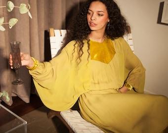Chartreuse Seventies Style Kaftan Batwing Silk Dress