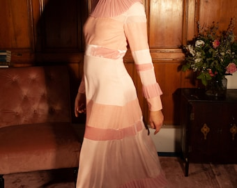 Pink Maxi Dress Full Length Long Sleeve Gown with Collar Alternative Wedding