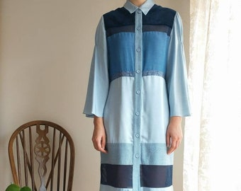 Blue Long Sleeve Knee Length Patchwork Stripe Sustainable Shirt Dress