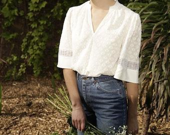 Ivory Women's Cotton Blouse / V Neck White Handmade Shirt / Zero Waste Eco Fashion / Small Medium Large
