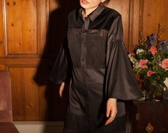Black Long Sleeve Knee Length Patchwork Stripe Sustainable Shirt Dress