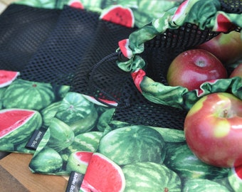 Reusable fruit and vegetable bags pattern 'Watermelon'