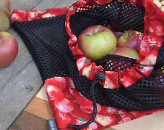 Reusable fruit bags and vegetables 'Apple' pattern