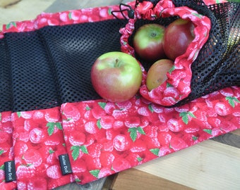 Reusable fruit and vegetable bags pattern 'Framboise'