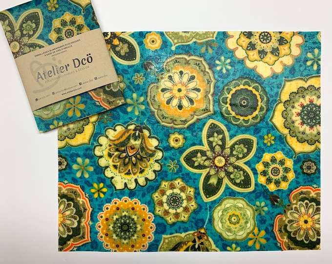 Flowers Medium 10x12: Beeswax-based food packaging