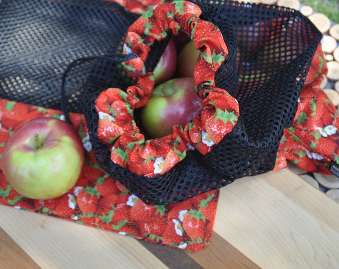 Strawberry reusable fruit and vegetable bags
