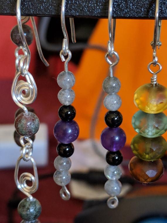 Garnet Labradorite and Sterling Silver Gemstone Art Earrings
