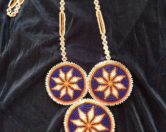 Native American Beadwork Necklace/Bead Embroidery