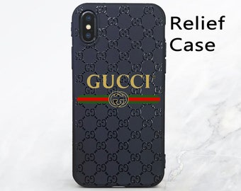 b054caaeabfd6 Gucci iPhone XS max сase Black relief iPhone 7 plus Case Gucci case iPhone  XR case inspired Gucci gold logo iphone 8 case designer iphone XS