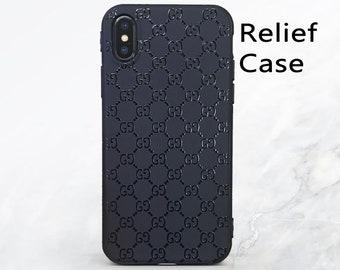 d8699d65879e0e Gucci iphone case Premium gucci iPhone Xs case Fashion iphone XR case Gucci  texture case iphone 7 plus case inspired Gucci relief black case