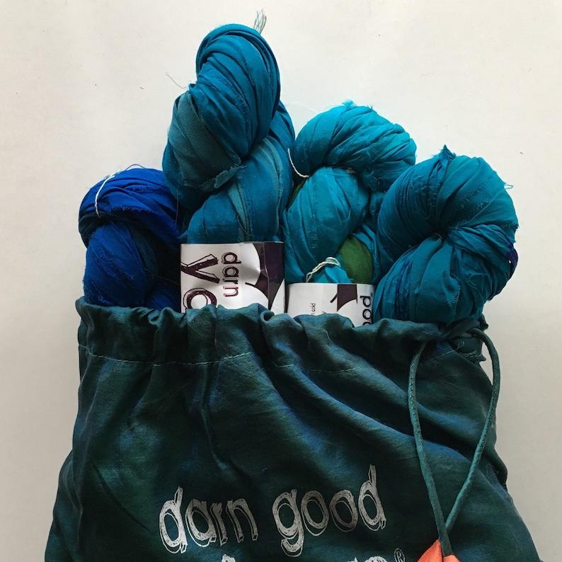 Chiffon Grab Bag Ocean Deep 4 Pack Darn Good Yarn
