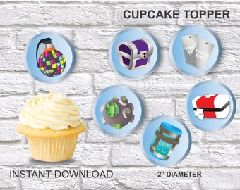 Fortnite Cupcake Toppers Template Blue