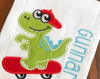 Skater Burp Cloth, Baby Burp Cloth, Personalized Burp Cloth, Baby Shower Gift, Baby Gift, Baby Accessories, Skateboard, Dinosaur