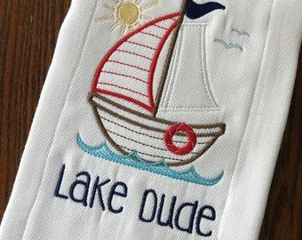 Boat Burp Cloth, Baby Burp Cloth, Personalized Burp Cloth, Baby Shower Gift, Baby Gift, Baby Accessories, Lake, Sailboat