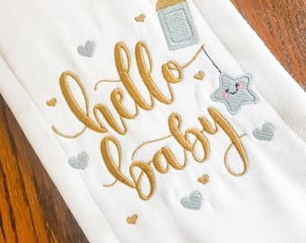 Hello Baby Burp Cloth, Baby Burp Cloth, Burp Cloth, Baby Shower Gift, Baby Gift, Baby Accessories