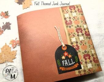 """Fall Themed Junk Journal, Handmade, Soft Cover, 6"""" X 6"""", Gratitude Journal, Prayer Journal, Autumn Journal"""