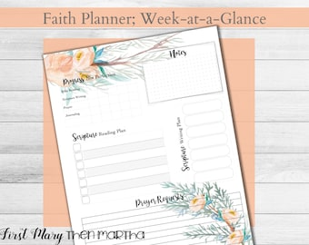 Weekly Faith Planner Page, from the Cypress kit, fits Big Happy Planner, prayer tracker, Scripture writing planner, Christian planner