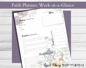 Weekly Faith Planner Page, Printable, fits Big Happy Planner, from the Winter  Woodlands Collection, plan your daily quiet times