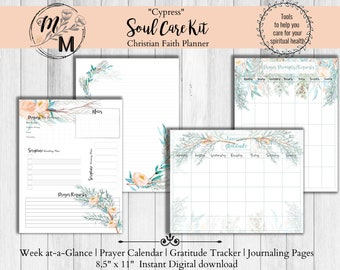 Faith Planner Kit (12 month) Printable weekly Plan, Prayer Calendar, Scripture Writing, Gratitude tracker, Bible reading plan, Journal  page