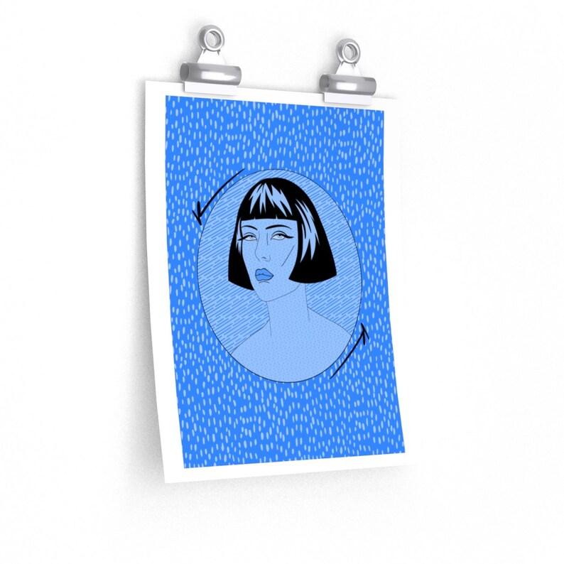 Pop Art Monochromatic Illustration Fine Art Print Blue Period