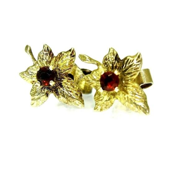 Vintage 9ct 9k Gold Garnet Maple Leaf Stud Earrin… - image 2