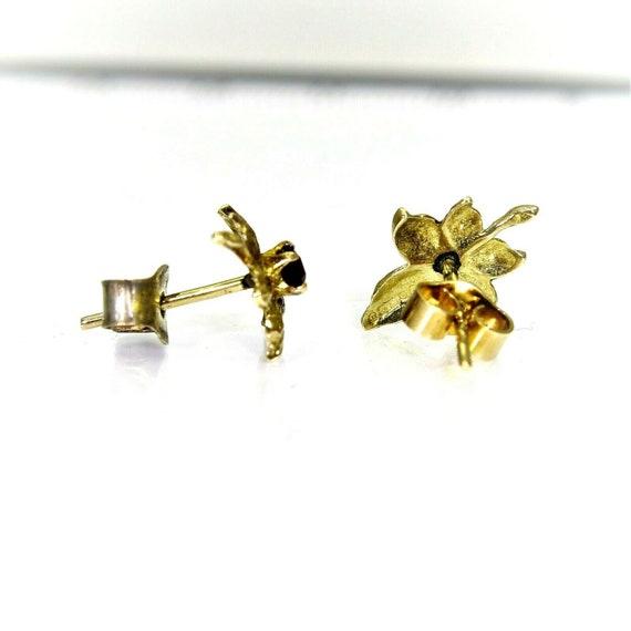 Vintage 9ct 9k Gold Garnet Maple Leaf Stud Earrin… - image 4