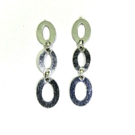 9ct 9k White Gold Oval Link Chain Drop Earrings