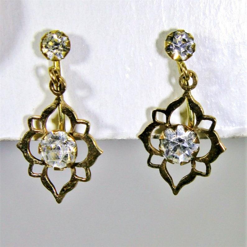 Vintage 9ct 9k Gold Paste Screw Back Drop Earrings