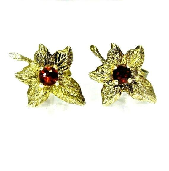 Vintage 9ct 9k Gold Garnet Maple Leaf Stud Earrin… - image 3
