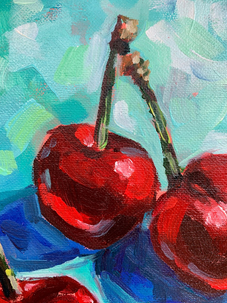 Kitchen Decor Colorful still life Food Painting Original Cherry Painting