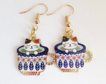 Drop Earrings for Pierced Ears Gifts for Cat Owners Stay Pawsitive Statement Jewellery Cat Lover Accessories Cat Earrings