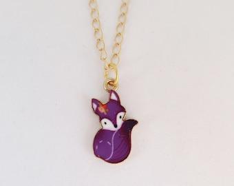 Fox Lover Gift English Fox Pendant Quirky Charm Necklace Kawaii Animal Jewellery NOVELTY FOX NECKLACE Unusual Fox Gift