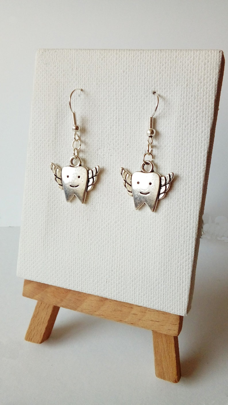 Dentist Gift Antique Silver Plated Tooth Fairy Dentist Gift Charm Dangle Earrings on Silver Plated Hook Wires Tooth Earrings
