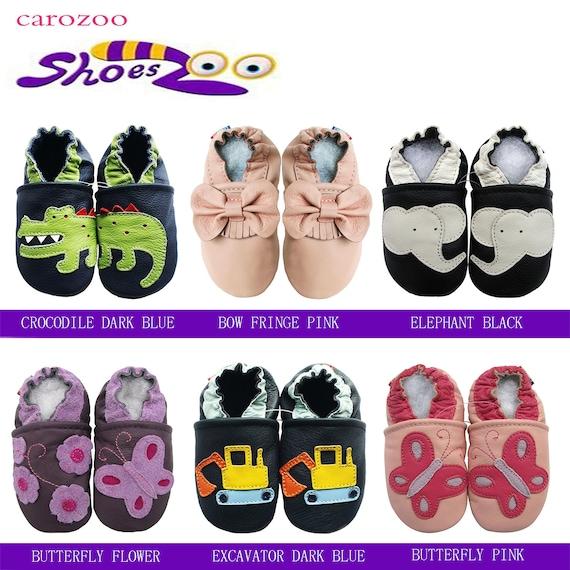 carozoo crocodile dark brown 6-12m  soft sole leather baby shoes