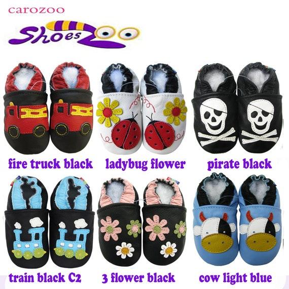 Carozoo Train Blue Black C2 Baby Boy Soft Sole Leather Shoes