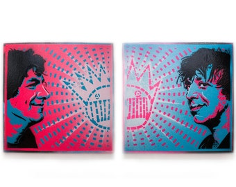 Gene and Dean Ween Spray Paint Wall Art   Original Stencil Painting on Canvas