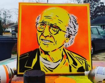 Larry David Original Spray Paint Stencil Portrait