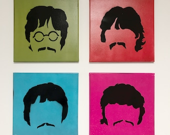 Beatles Spray Paint Wall Art Set   Fab Four Silhouettes   Original Stencil Painting on Canvas