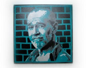 George Carlin Spray Paint Wall Art   Original Stencil Painting on Canvas