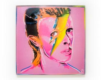 David Bowie Spray Paint Wall Art   Original Stencil Painting on Canvas