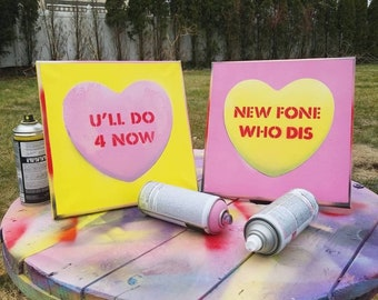 """Personalized Conversation Heart Painting   Custom Spray Paint on Canvas (12"""" x 12"""")"""