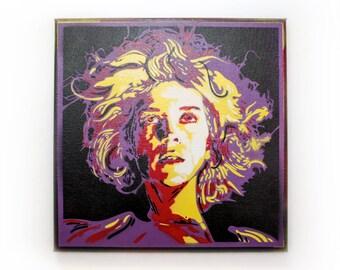 Annie Clark (St. Vincent) Spray Paint Wall Art   Original Stencil Painting on Canvas